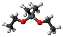 Ball-and-stick model of the dimethyldiethoxysilane molecule
