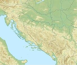 Динара на мапи Динарских планина