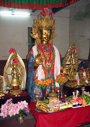 Newar Buddhism - Dīpankara Buddha (Bahi-dyah) on display during Gunla.