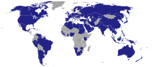 Foreign relations of Malaysia - Map of countries with diplomatic missions of Malaysia shown in blue.