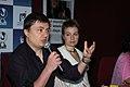Dirtector of thI inaugural film '4 month ,3 weeks and 2days Christian Mungui and Anamaria Marinca adderessing a press confernece on November 25, 2007 at Pnanai , Goa during iffi 2007.jpg