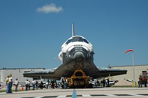 STS-121 - Discovery is moved from the OPF to VAB for STS-121.
