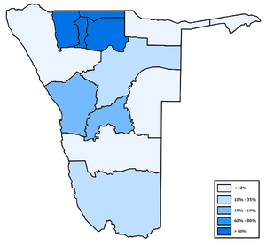 Demographics of Namibia - Distribution of Oshiwambo