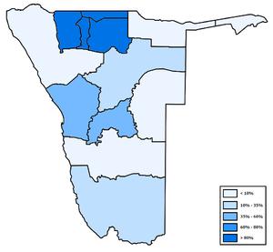 Demographics of Namibia - Distribution of Oshiwambo