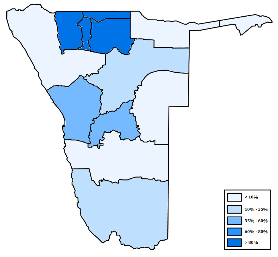 Distribution of Oshiwambo in Namibia