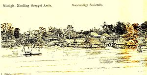 Jambi uprising - Jambi as seen from the river, drawing by Lt. W.J. Cohen Stuart