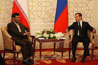 Presidency of Mahmoud Ahmadinejad - Ahmadinejad with President of Russia Dmitry Medvedev in Moscow on 28 August 2008.