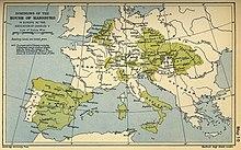La carte représente les possessions de la dynastie Habsbourg dans l'Europe du XVIesiècle.