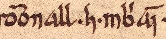 Domnall Gerrlámhach - Image: Domnall mac Muirchertaig (Oxford Bodleian Library MS Rawlinson B 489, folio 48r)