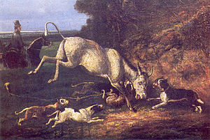Donkey-baiting - Donkey Attacked by Staffords, Oil painting, Circa 1840
