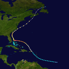 Map plotting the track and the intensity of the storm, according to the Saffir-Simpson scale Dorian 2019 track.png