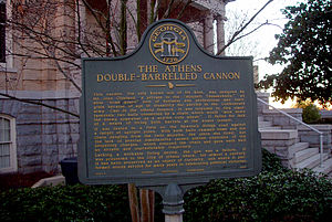 Double-barreled cannon - The commemorative plaque at the site of the cannon.
