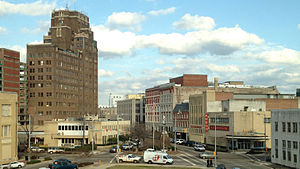 Meridian, Mississippi - A view of downtown from the third floor of Meridian City Hall; the 16-story    Threefoot Building dominates the skyline