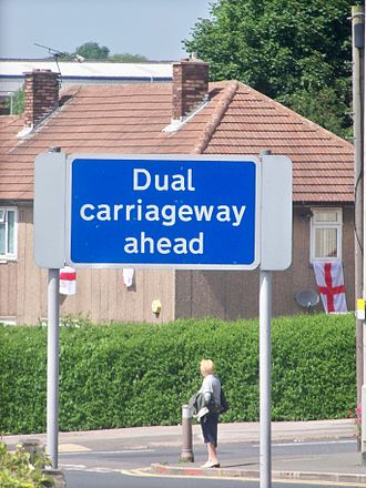 Dual carriageway - Sign informing motorists of an upcoming section of dual carriageway in Seacroft, Leeds