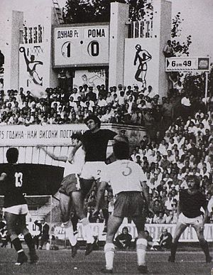 FC Dunav Ruse - Dunav playing against Serie A club Roma at the Municipal Stadium in 1975.