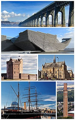 From top, left to right: Tay Bridge across the Firth of Tay, V&A Dundee design museum, Broughty Castle, McManus Gallery, RRS Discovery and Cox's stack in Lochee.
