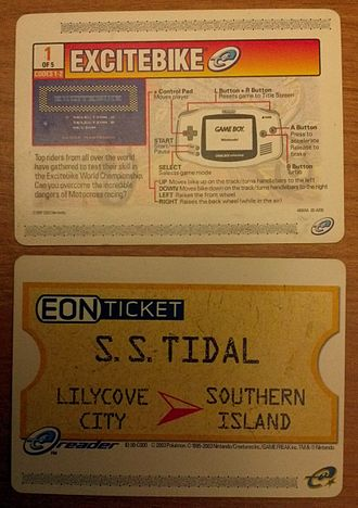 Nintendo e-Reader - Two e-Reader cards. The top card is one of the five cards needed to play Excitebike and the bottom card is the EON Ticket, a promotional card for Pokémon Ruby and Sapphire .