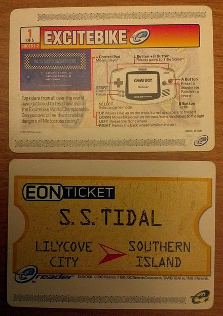 Two e-Reader cards. The top card is one of the five cards needed to play Excitebike and the bottom card is the EON Ticket, a promotional card for Pokemon Ruby and Sapphire . E-Reader Cards.jpg