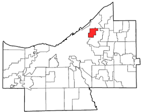 Location of East Cleveland in Cuyahoga County