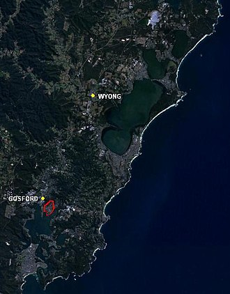 East Gosford, New South Wales - Location of East Gosford (red) within the Central Coast