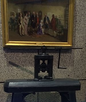 Adam Eckfeldt - Eckfeldt's 1792 press, displayed beneath the Dunsmore painting depicting him