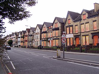Edge Lane - Boarded up properties for demolition, August 2009
