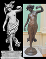 Edward Onslow Ford (1852-1901), Dance (1891), comparison between vintage photo of version with added drapery and headdress, and modern photo of bronze at the Lady Lever Art Gallery, Port Sunlight, Cheshire, June 2013 (16508555818).png