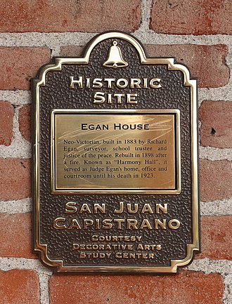 San Juan Capistrano, California - Plaques are used to identify historic sites of the city.