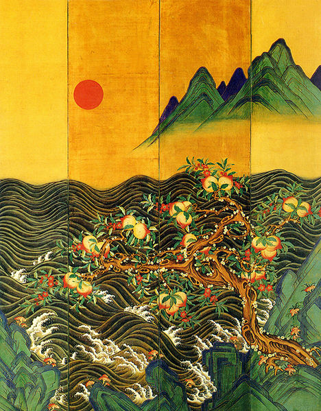 File:Eight-Fold Screen Painting of the Sun, Moon and Peach Trees 01.jpg