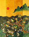 Eight-Fold Screen Painting of the Sun, Moon and Peach Trees 01.jpg