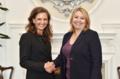 Elizabeth Kennedy Trudeau with Karen Bradley in Belfast - 2018 (44689677602).png