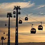 Emirates Air Line at sunset (geograph 3247627).jpg