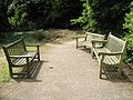 Empty benches near the Pinetum at RHS Wisley - geograph.org.uk - 878326.jpg
