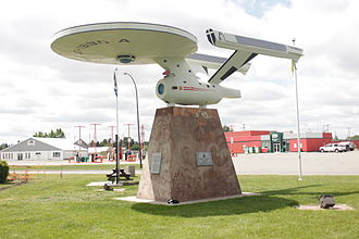 Vulcan, Alberta - Vulcan's Starship FX6-1995-A, replica of the Starship Enterprise and named after Vulcan Airport's designation FX6