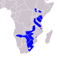 Range map of The Plains zebra