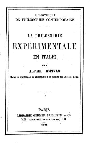 File:Espinas - La Philosophie expérimentale en Italie, 1880.djvu