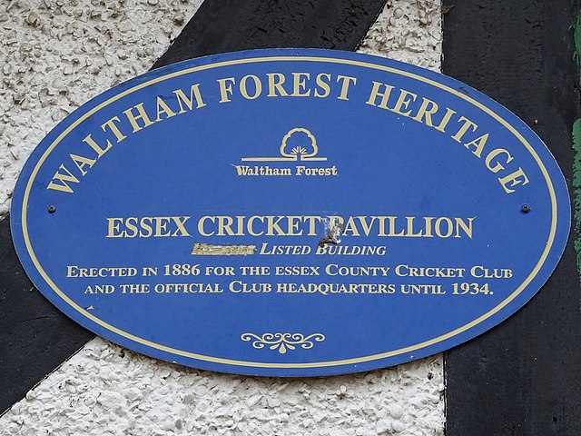 Richard Creed and Essex Cricket Pavilion blue plaque - Essex Cricket Pavilion. Grade II Listed building. Designed by Richard Creed FRIBA and erected in 1886 for the Essex County Cricket Board. Official Club headquarters until 1934