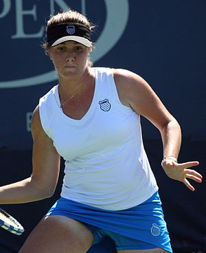 Ester Goldfeld - Ester Goldfeld in action during the 2010 US Open girls' singles event.