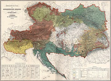 Ethnographic composition of the Austrian Empire (1855) Ethnographic map of austrian monarchy czoernig 1855.jpg