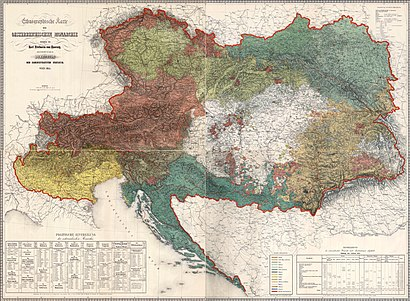 Ethnographic map of the Austrian Empire (1855) by Karl Freiherrn von Czoernig Ethnographic map of austrian monarchy czoernig 1855.jpg