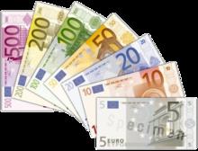 Éventail des billets de la première série par ordre de valeur: le plus gros, de 500euros, en dessous de tous en haut à gauche; le plus petit, de 5 euros, au-dessus en bas à droite.