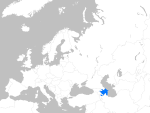 Location map of Azerbaijan within Europe