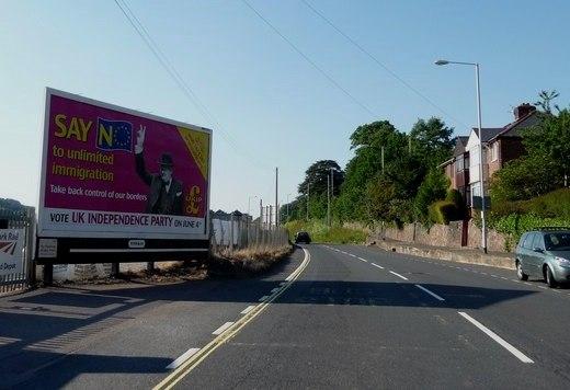 Exeter , Cowley Bridge Road and UKIP Hoarding - geograph.org.uk - 1345943