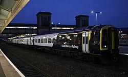 Exeter St Davids - SWR 159010+159003 after dark.JPG