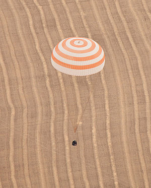 Soyuz TMA-18 - The Soyuz TMA-18 with its main parachute deployed for landing.