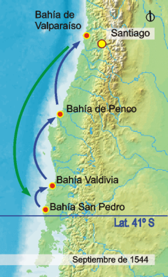 Conquest of Chile - The Juan Bautista Pastene expedition to southern Chile in 1544.