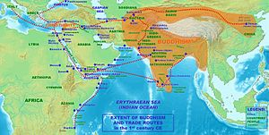 Buddhism and the Roman world - Extent of Buddhism and trade routes in the 1st century AD.