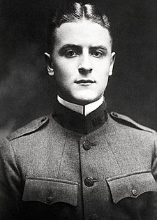 Fitzgerald in his uniform F. Scott Fitzgerald - World War I Uniform - 1917.jpg