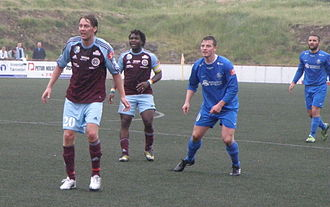 Argja Bóltfelag - AB Argir in a match in Vodafonedeildin 2010 against FC Suðuroy.