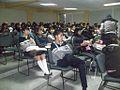 FLISOL 2014 en la Prepa 55 Chicoloapan, Estado de México, México, estudiantes en conferencia sobre wikimedia.JPG